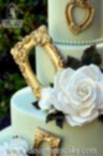 Gumpaste roses and golden frame