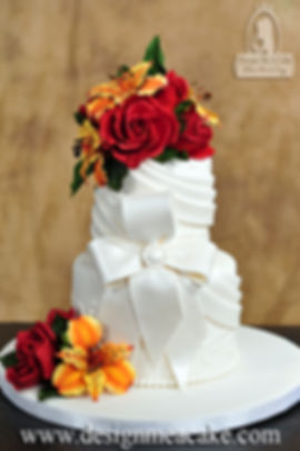 Swags and Sugar flowers cake