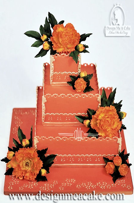 Orange cake with peony flowers