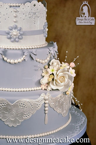 Gumpaste lace and pearls