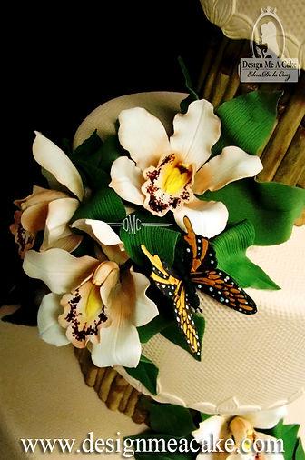 Peach gumpaste orchis