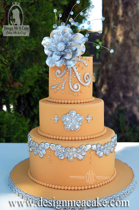 Cantaloupe color cake with Silver details