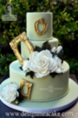 Beautiful cake golden frames