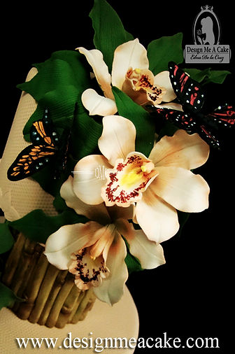 Gumpaste butterflies and orchids
