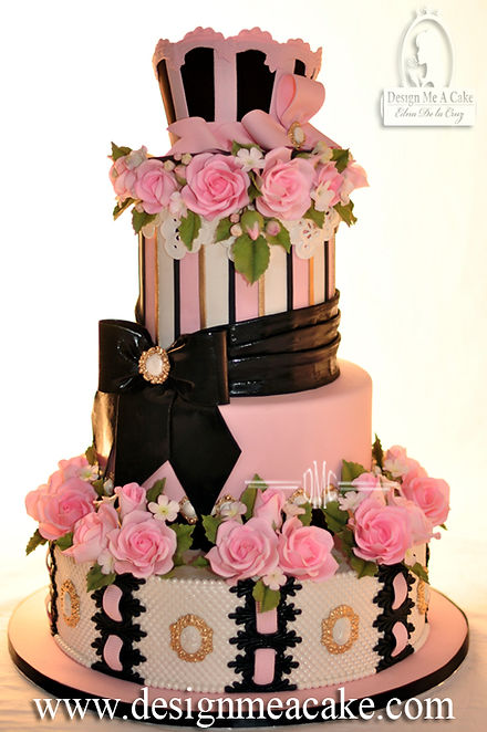 Beautiful cake with lace and bow