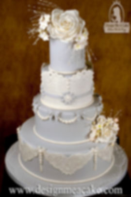 White Cake with lace and pearls design