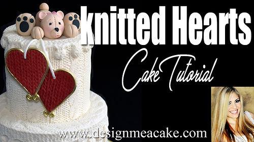 Knit hearts cake tutorial