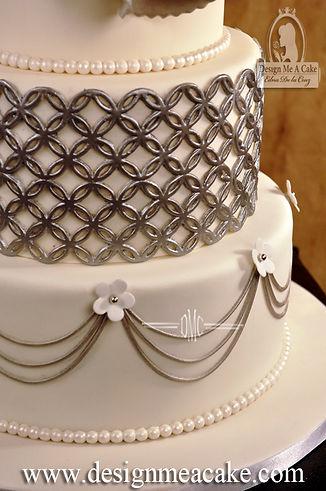 Magnolia white and grey cake