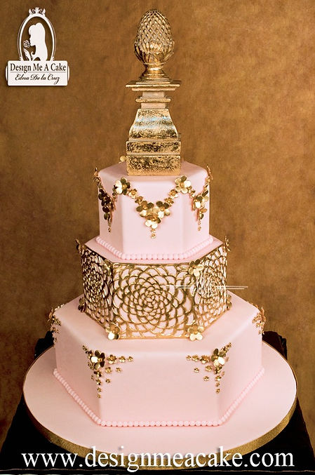 Beautiful cake with a basketweave style