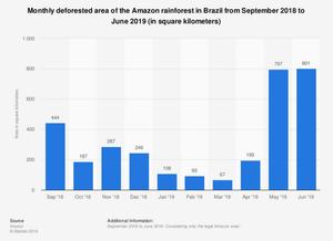 Area desforestación mensual Amazonas, septiembre 2018-junio 2019, en kms2