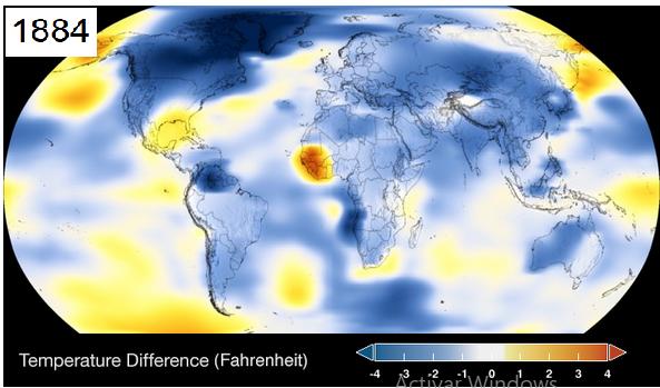 1884 - Variación media quinquenal de las temperaturas de la superficie del planeta - Fuente: NASA