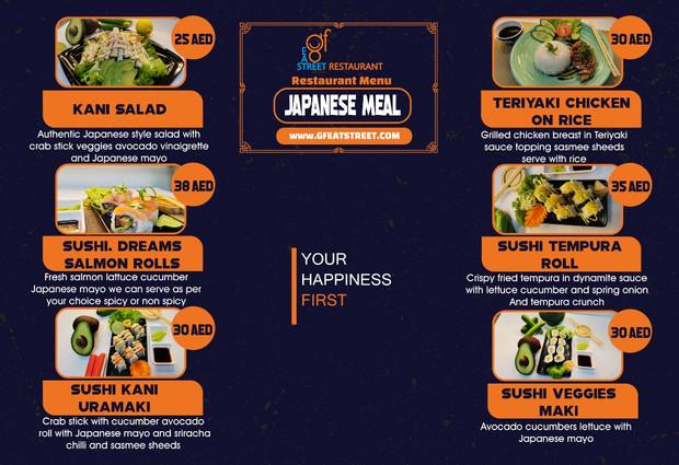 japanese food menue