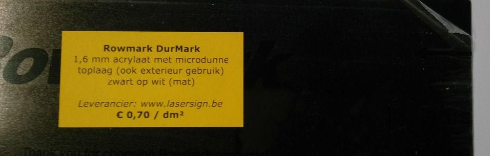 DurMark 1,6 mm - zwart op wit (mat)