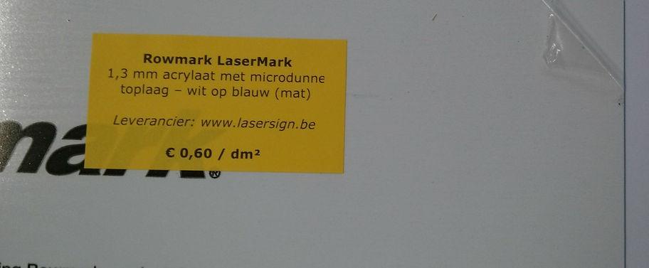 LaserMark 1,3 mm - wit op blauw (mat)