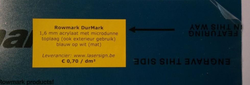 Durmark 1,6 mm - blauw op wit (mat)