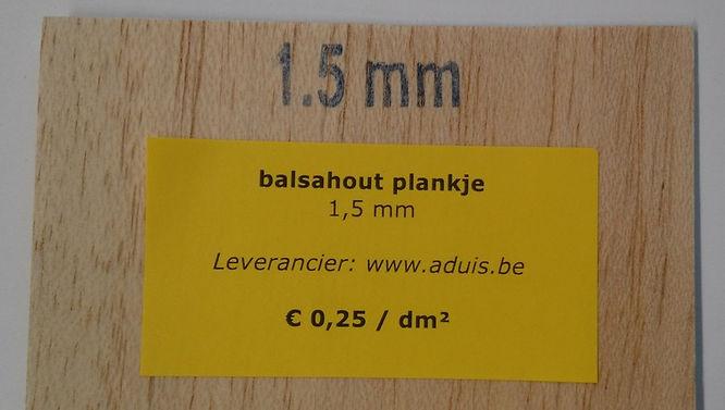 balsahout plankje 1,5 mm