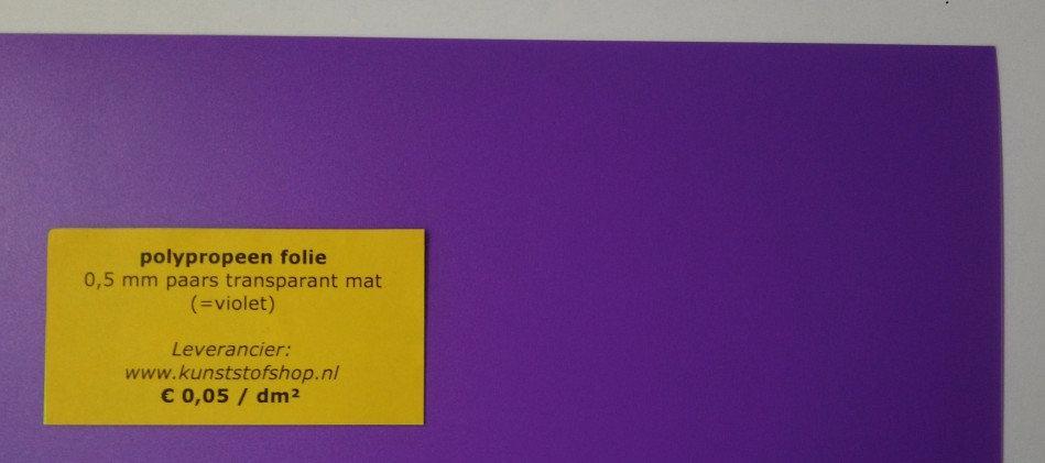 polypropeen folie 0,5 mm - paars transparant mat (=violet)