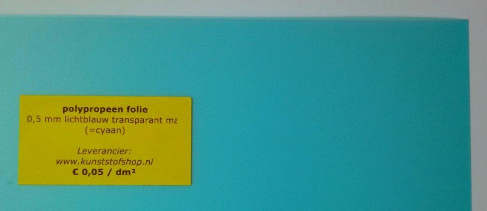 polypropeen folie 0,5 mm - lichtblauw transparant mat (=cyaan)