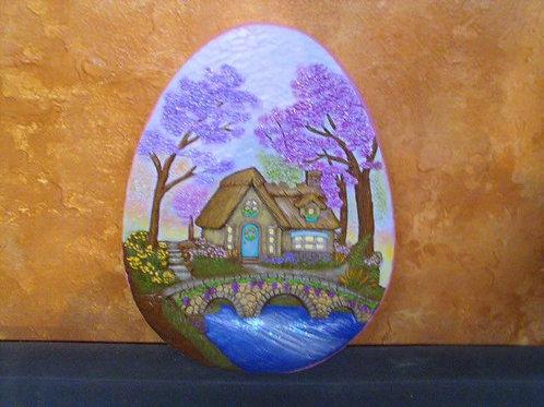 Lg. Egg with scene