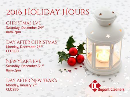 2016 Holiday Closings