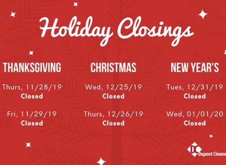 2019 Holiday Closings