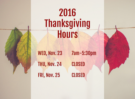 2016 Thanksgiving Hours