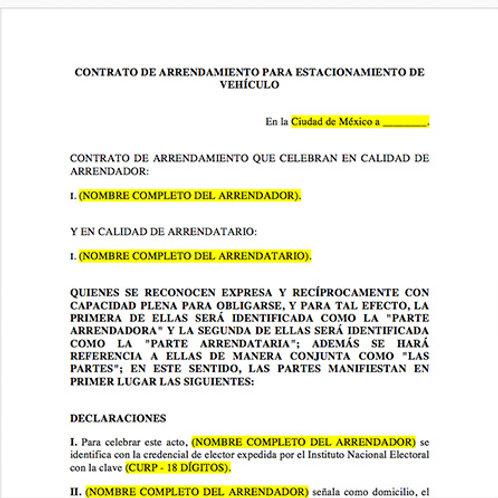 Contrato de Arrendamiento para  Estacionamiento de Vehículo