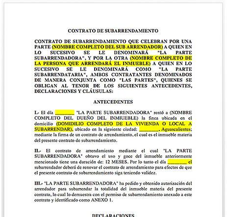 Contrato de subarrendamiento de  bienes inmuebles