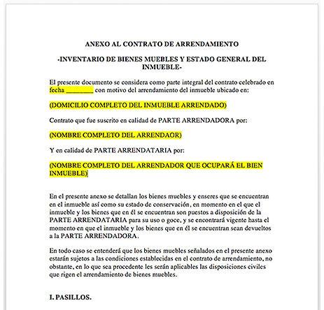 Inventario de muebles y estado  general del inmueble (anexo al contrato de arrendamiento)
