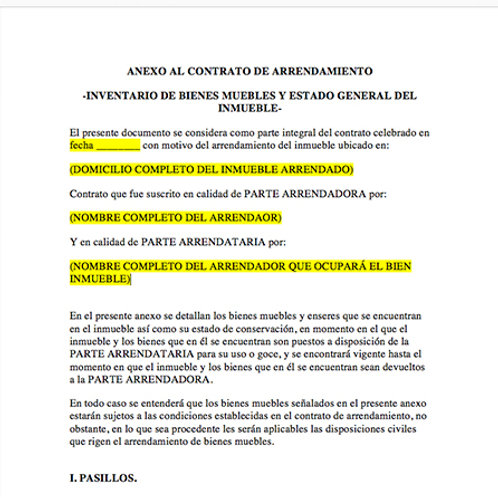 Inventario de muebles y estado  general del inmueble (anexo al contrato)