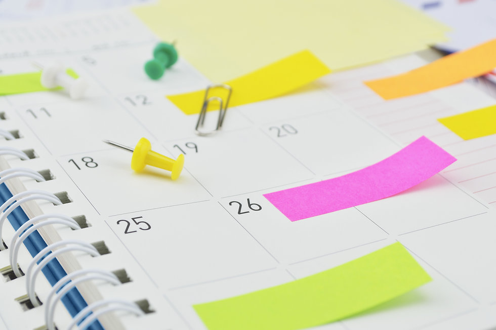 Colorful post It notes with pin and clip
