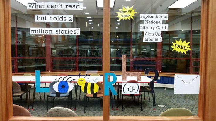 Library Card Rebus Display