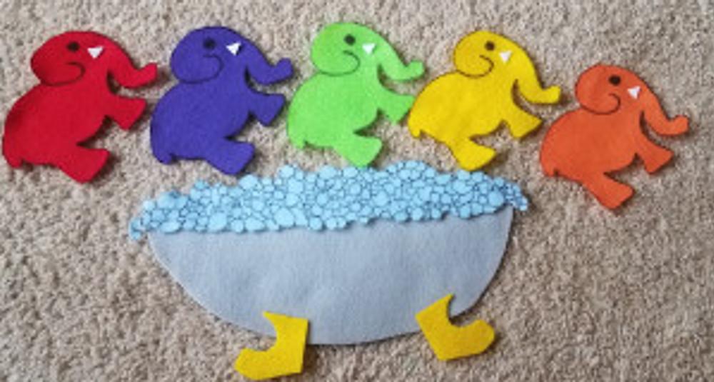 felt elephants-in-the-bathtub