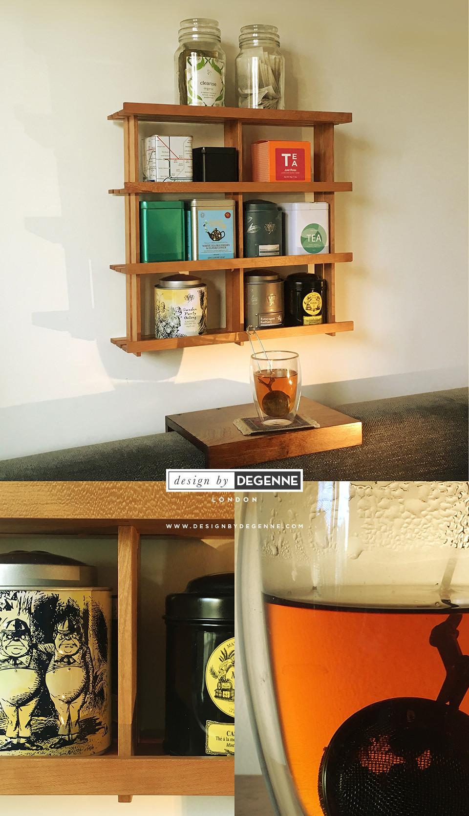 Shelf for tea caddies in solid cherry