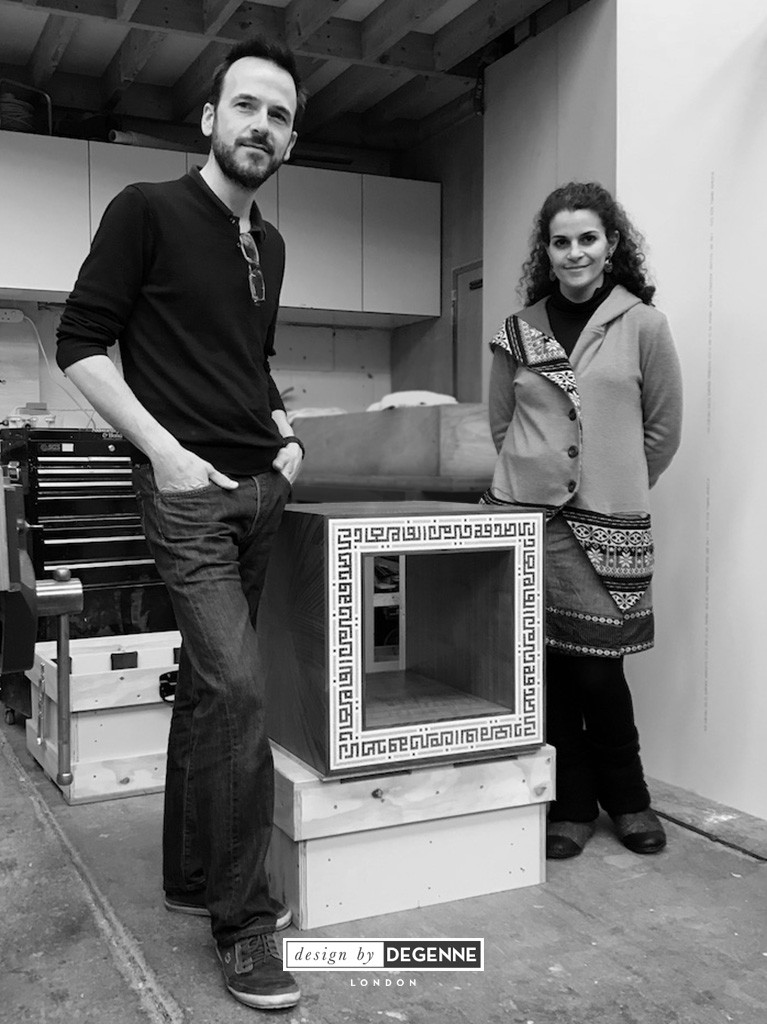 Designer Thibaut Degenne and calligraphy artist Joumana Medlej in the workshop where Al Risala table was created