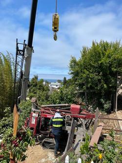 Drilling on a steep slope, La Jolla, 2021