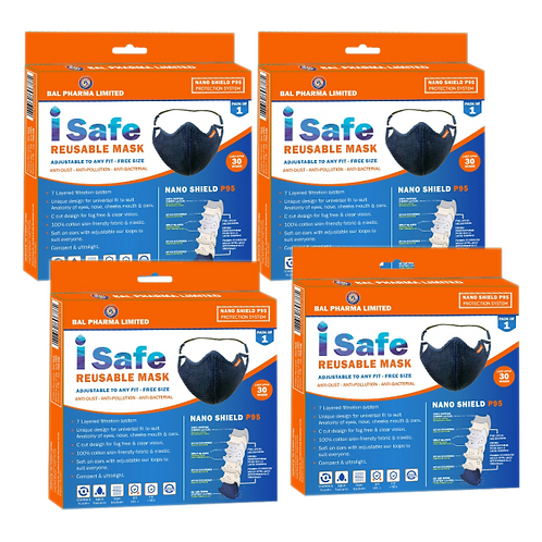 Isafe Reusable Mask Combo of 4 Rs 550