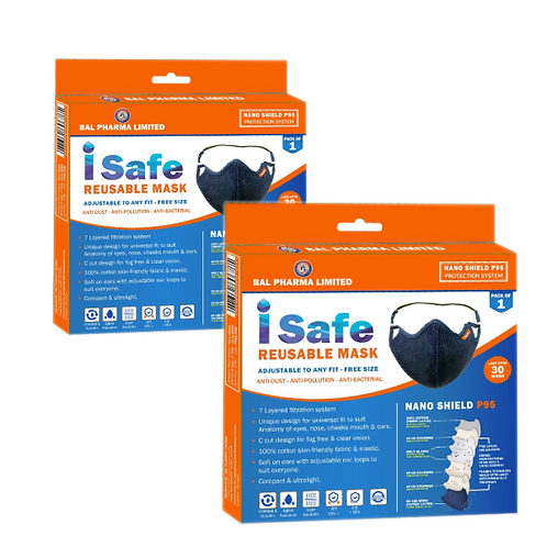 Isafe Reusable Mask Combo of 2 Rs 280/-