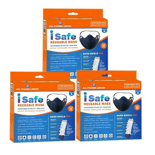 Isafe Reusable Mask Combo of 3 Rs 400/-