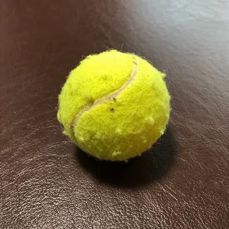 「テニスボールでのケアに注意」
