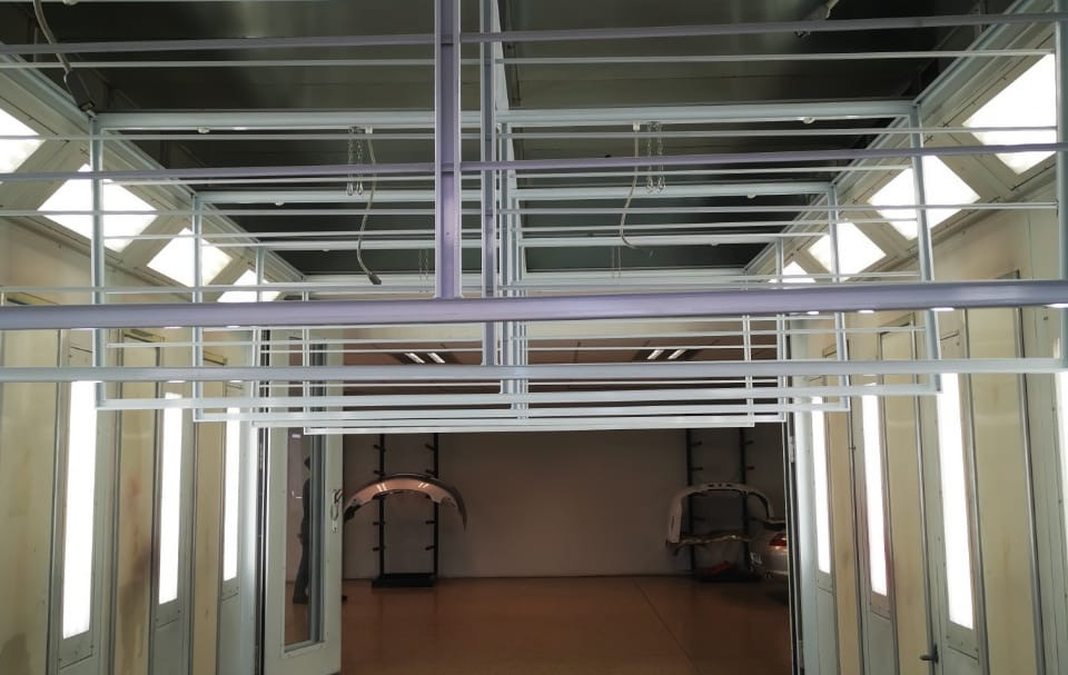 Spray Booth Ceiling Filter Change.JPG