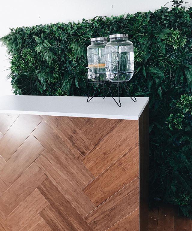 Our herringbone bar and green wall looki
