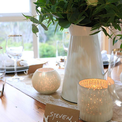 Our white votives, antler place card hol