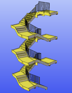 Stairs with balustrade
