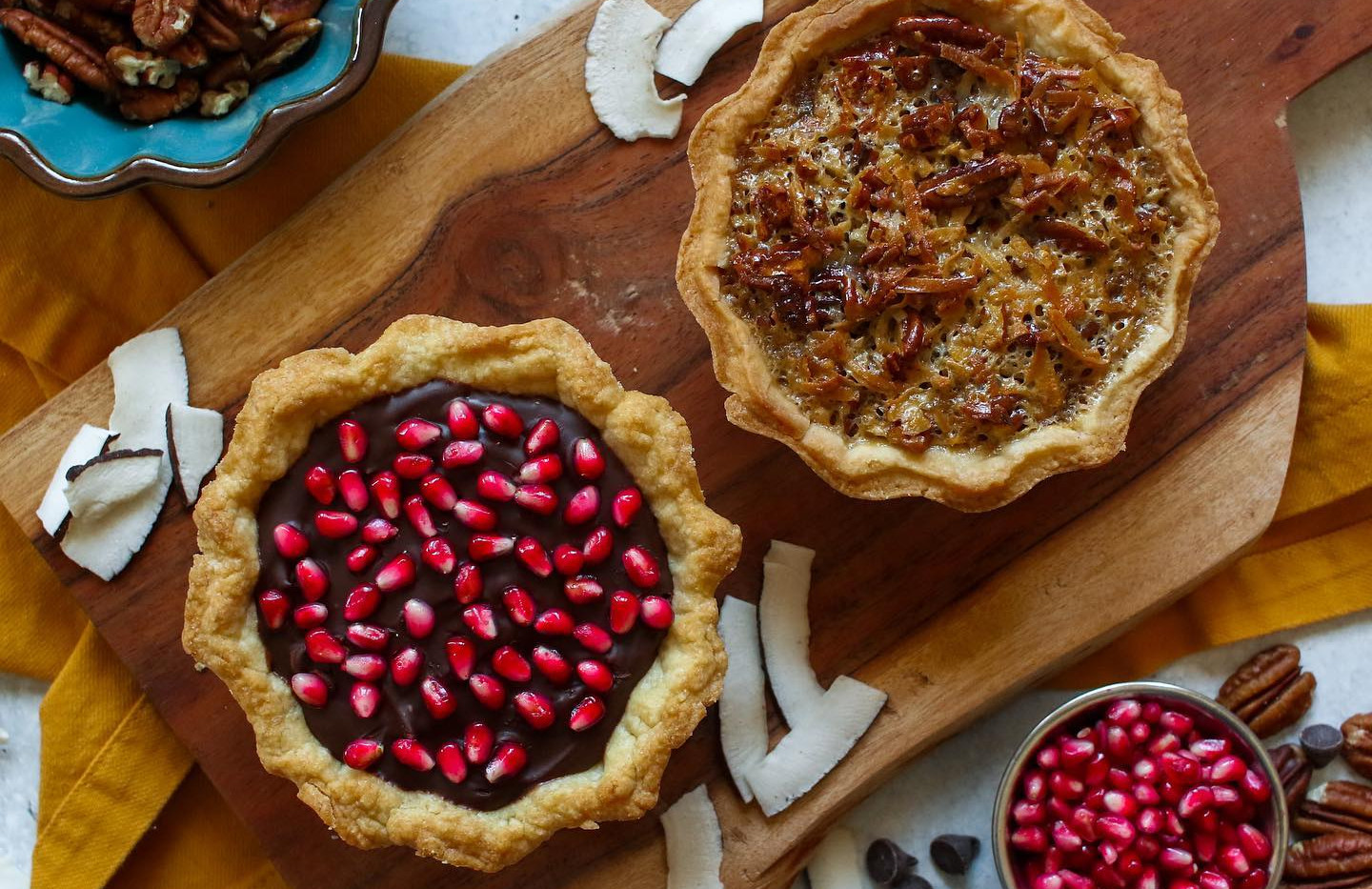 German Chocolate Pecan Pie & Pomegranate Chocolate Ganache Pie