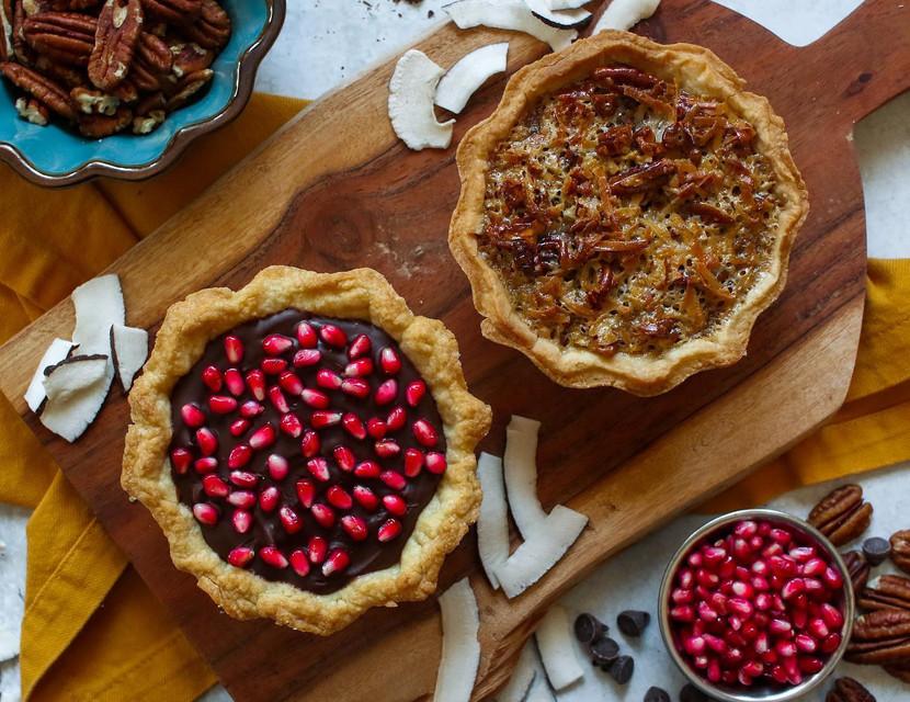 German Chocolate Pecan Pie & Pomegranate Chocolate Ganache Pie