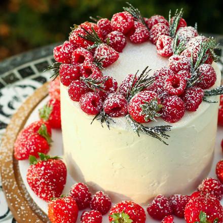 Red Velvet Cake w/ Vanilla Bean Swiss Meringue Buttercream and Strawberry Filling