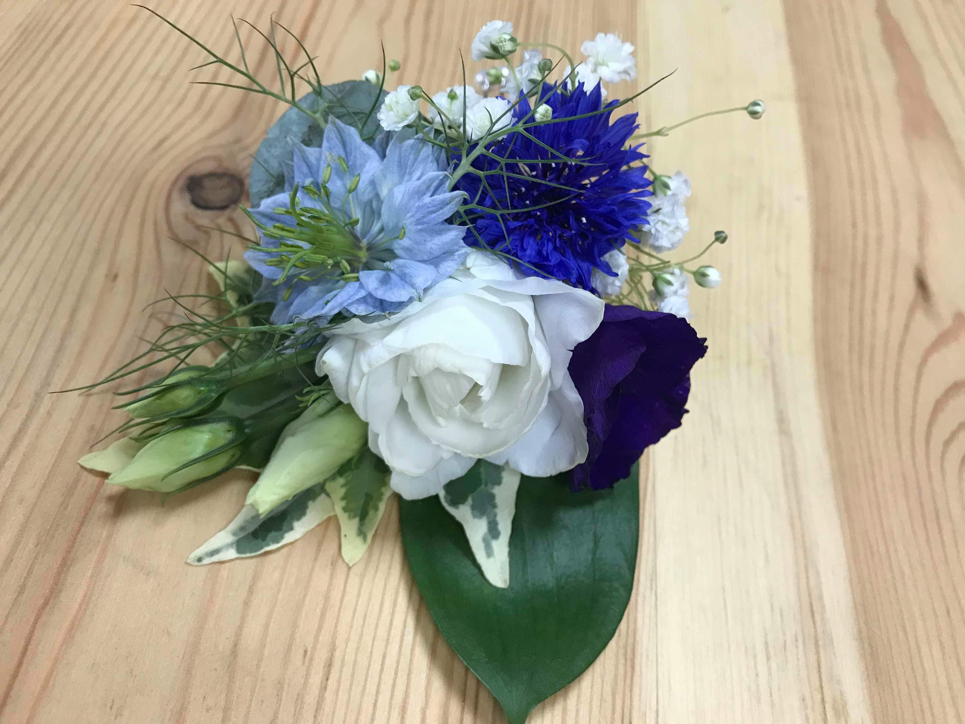 Buttonhole feat. Nigella, Cornflower and Lisianthus