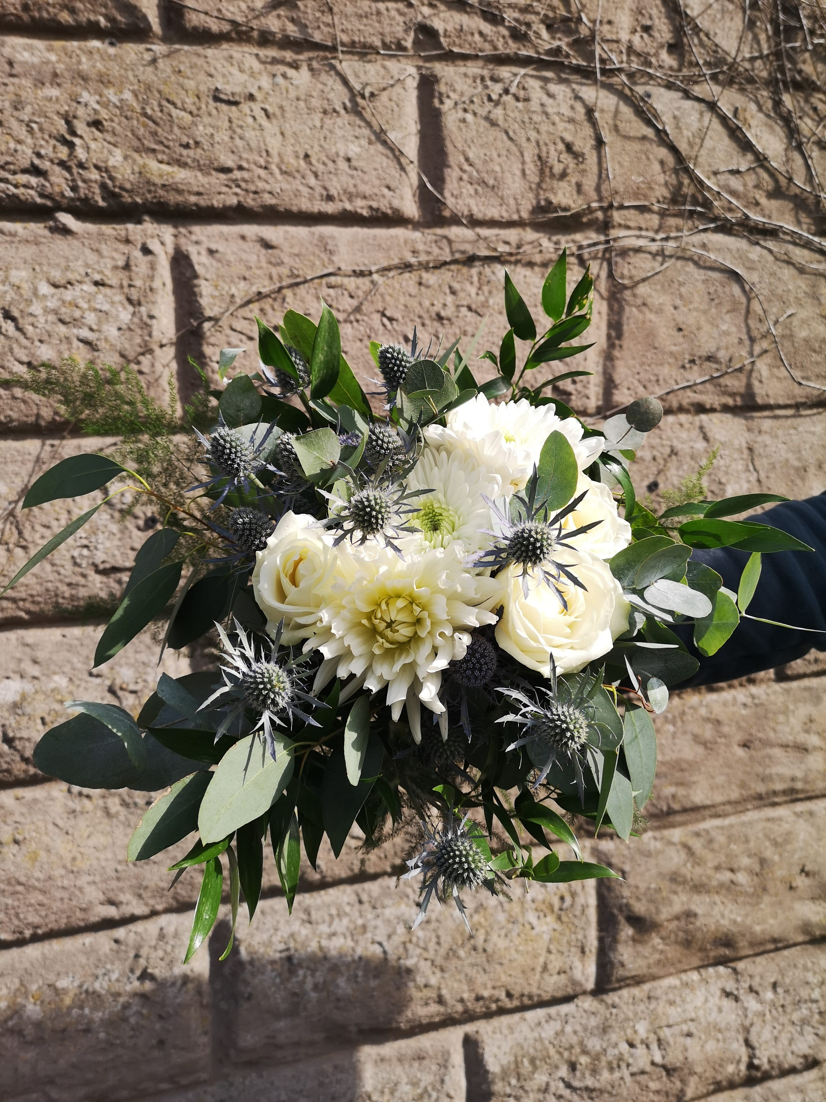 White and Thistle Bouquet