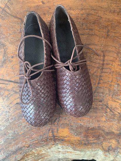 Ewa leather basket weave ballet shoes